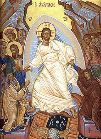 Icono ortodoxo de la Resurrección de Jesús.